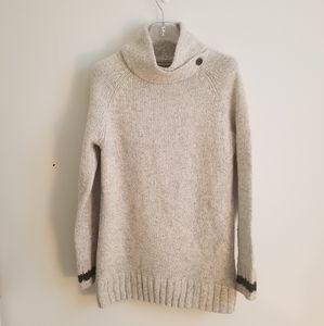 Roots Sweater mock neck cowl long gray wool sz S